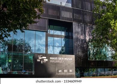 "INNSBRUCK/ AUSTRIA OCT 03, 2019: Facade of the ""Haus der Musik"" (engl. House of Musik"") in the Center of Innsbruck, Austria"