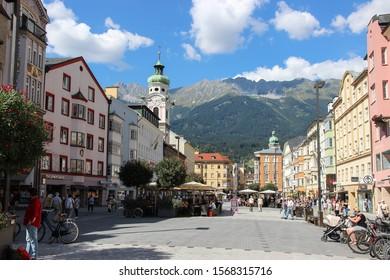 Innsbruck, Austria - September 08, 2016: Duke Frederick Street in historic center of Innsbruck. This street called Herzog-Friedrich-Stra?e is the central street of Innsbruck.