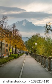 Innsbruck, Europe November, 3rd 2018,, capital of Austria's western state of Tyrol, Austria, peple walking and enjoy holiday in the park in a old historic romantic city in the Alps