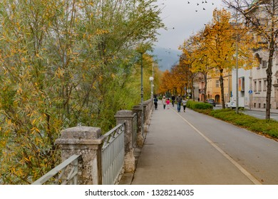 Innsbruck, EuropeNovember, 3rd 2018,, capital of Austria's western state of Tyrol, Austria, peple walking and enjoy holiday in the park in a old historic romantic city in the Alps
