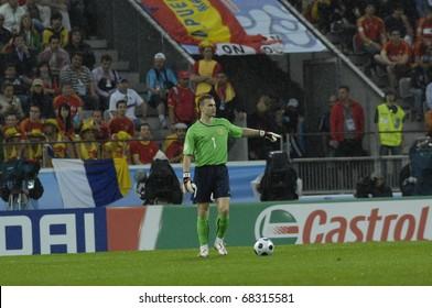 INNSBRUCK - JUNE 10: Igor Akinfeev of Russia Football National Team during the match Spain-Russia 4:1 Euro2008 Group D. June 10, 2008, in Innsbruck, Austria