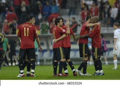 INNSBRUCK - JUNE 10: Spain Football National Team during the match Spain-Russia 4:1 Euro2008 Group D. June 10, 2008, in Innsbruck, Austria