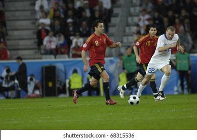 INNSBRUCK - JUNE 10: Xavi Hernandes of Spain Football National Team during the match Spain-Russia 4:1 Euro2008 Group D. June 10, 2008, in Innsbruck, Austria