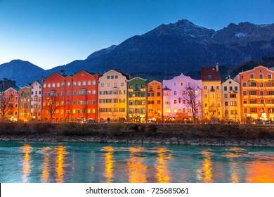 Innsbruck at night, Austria
