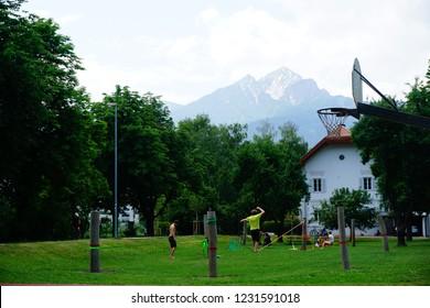 Innsbruck, Tirol / Austria -  May 13 2018: Slacklining in slackline park