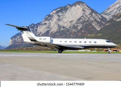 Innsbruck/Austria October 26, 2019:   Gulfstream G650 Swiss Jet at InnsbruckAirport.