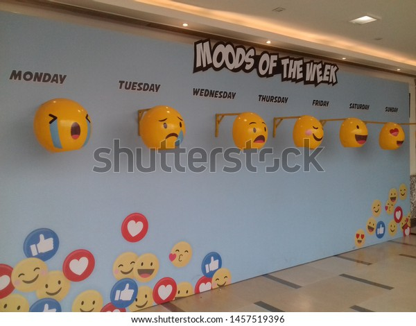 inorbit mall, vashi, navi mumbai, maharashtra, india, 21st july , 2019: different moods of the week smileys with different facial expressions in the mall