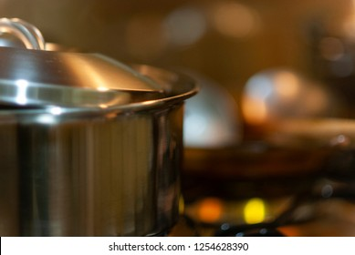 Inox pan on the stove.