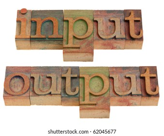 input and output words in vintage wooden letterpress printing blocks isolated on white
