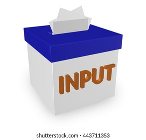 Input word on a 3d box to illustrate collection of feedback, comments, reviews, criticism and ideas to improve or succeed in reaching goals