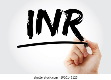 INR - International Normalized Ratio acronym with marker, medical concept background