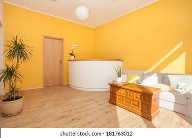 Inrerior of yoga centre and spa reception area