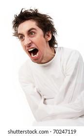 Insane man in strait-jacket screaming in isolation