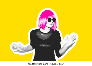 Insanely crazy fashion hipster girl in a hot pink wig. Dangerous rock party is boring, a woman ironically having fun. Flash style on fashionable exclusive yellow background collage magazine.
