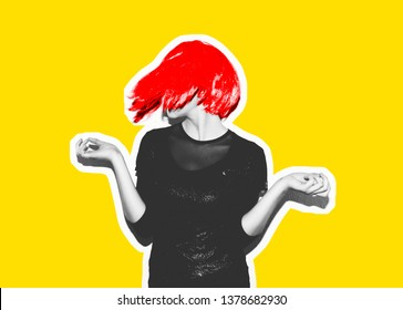 Insanely crazy fashionable hipster girl in a bright pink wig. Dangerous rock party is boring, a woman ironically having fun. Flash style on fashionable exclusive yellow background magazine collage