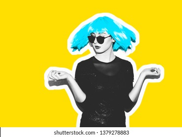 Insanely crazy fashionable hipster girl in a bright pink wig. Dangerous rock party is boring, a woman ironically having fun. Flash style on a fashionable exclusive yellow background. Collage Magazine