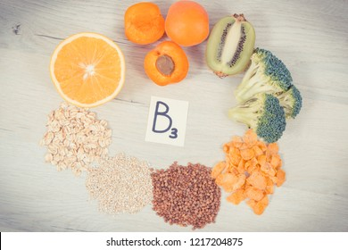 Inscription B3 and nutritious food as source vitamin B3, dietary fiber and natural minerals, concept of healthy lifestyles and nutrition