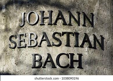 "Inscription of the Bach memorial in Leipzig: ""Johann Sebastian Bach"""