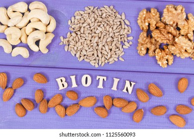 Inscription biotin with nutritious products containing vitamins and dietary fiber, natural sources of minerals, healthy nutrition concept
