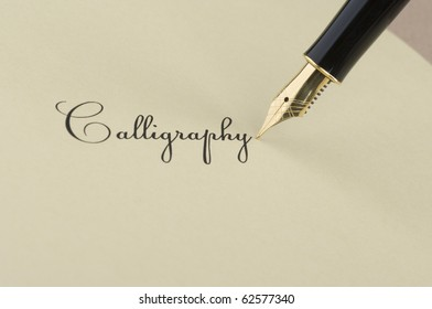 Inscription Calligraphy with gold pen
