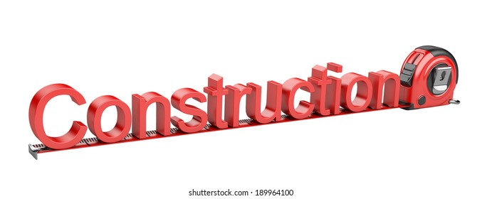 inscription - construction and tape measure. 3d render iIsolated on white background.