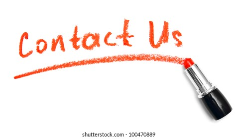 """Inscription """"Contact us"""" lipstick. On a white background."""
