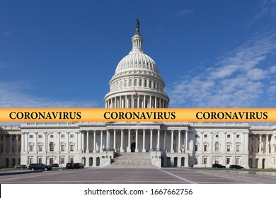 Inscription coronavirus on a yellow police tape against the backdrop of the Capitol Building in Washington DC, USA. US coronavirus concept in government