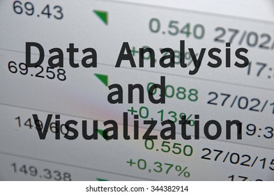 Inscription Data Analysis and Visualization on PC screen. Financial data on the background.