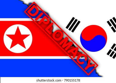 Inscription diplomacy against the background of the flags of South and North Korea
