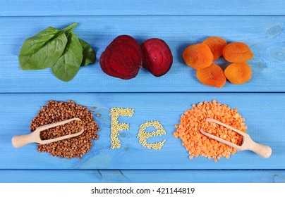 Inscription Fe, ingredients and products containing iron and dietary fiber, natural sources of ferrum, healthy food and nutrition