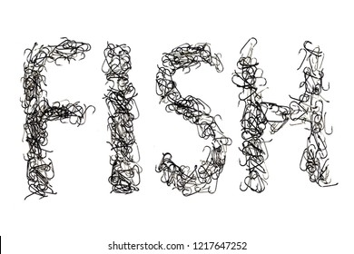 "The inscription ""fish"" fishing hooks on a white background. isolate"