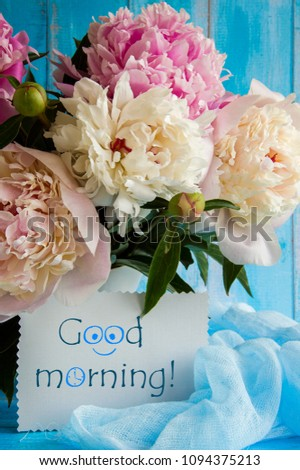 Inscription Good Morning Wishes Peony Flowers Stock Photo Edit Now