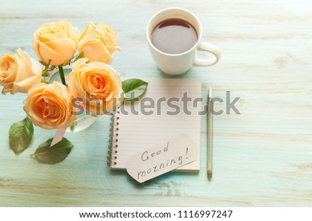 Inscription Good Morning Yellow Roses Cup Stock Photo Edit Now