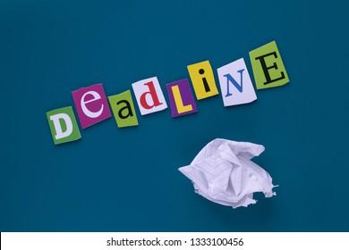Inscription, headline - deadline. A word writing text - deadline, made of different magazine newspaper letter. Project management. Deadline - word writing on mazarine background. Conceptual design.