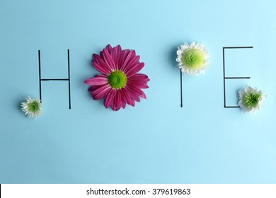Inscription hope with pink and white flowers on blue background