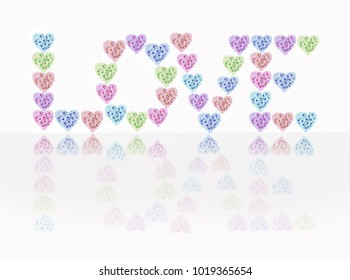 """The inscription """"love"""" in heart shapes decorated with flowers on white background"""