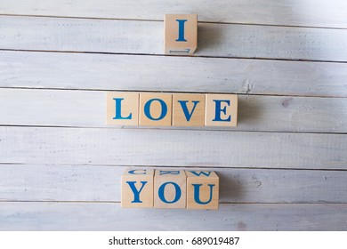 "The inscription ""Love"" from wooden cubes"
