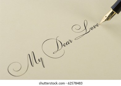 Inscription My dear love with gold pen