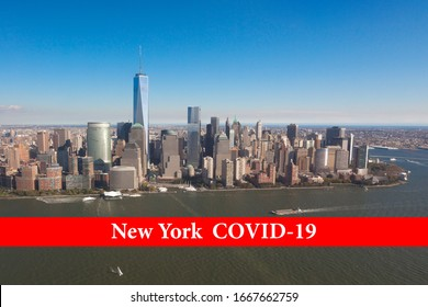 The inscription New York Covid-19 on a red ribbon against the background of New York skyscrapers. Coronavirus concept is  in New York in USA