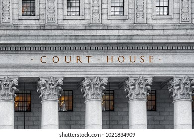 The inscription on the court house large gold letters
