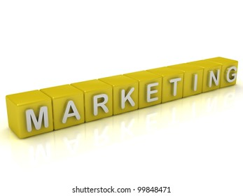 Inscription on the cubes of gold:marketing