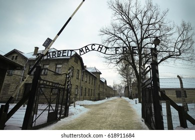 """The inscription on the gate to the Auschwitz concentration camp (Poland): """"Work makes you free"""""""