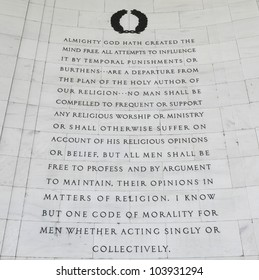 """Inscription on the northwest quadrant of the Jefferson Memorial in Washington, DC.  Passages were selected from """"A Bill for Establishing Religious Freedom"""" drafted in 1777 by Thomas Jefferson."""