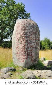 The inscription on this Rune Stone tells that a Danish Chieftain is buried here. He died on the way back to Denmark and was buried on this spot on Oeland.