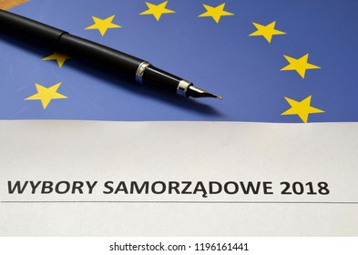 An inscription in Polish of local government elections