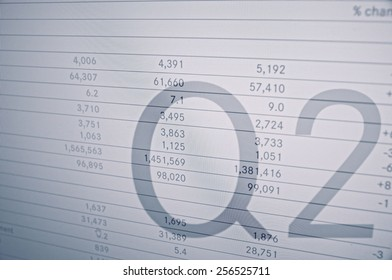 """Inscription """"Q2"""" on PC screen. Financial data as background."""