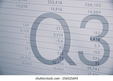 """Inscription """"Q3"""" on PC screen. Financial data on background."""