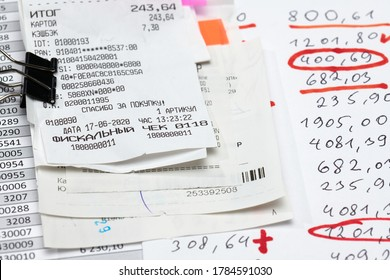 inscription in Russian - fiscal receipt, calculator and financial reports, analysis and accounting, various office items for bookkeeping