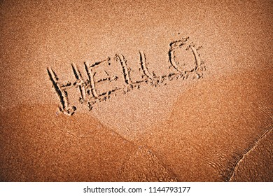 The inscription in the sand - hello