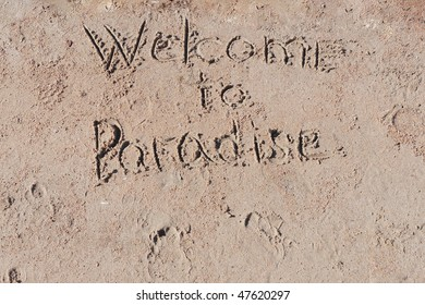 """Inscription """"Welcome to Paradise"""" on a sand."""